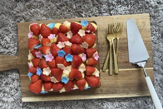 simpel aardbeien taartje